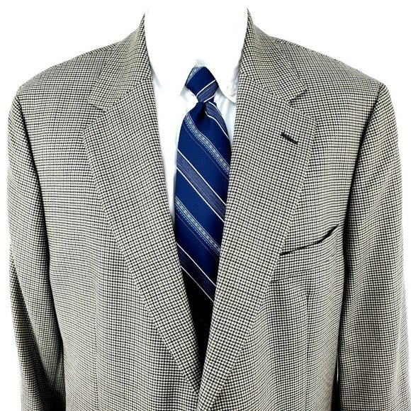 Brooks Brothers 346 44L 2 Button Houndstooth Cream